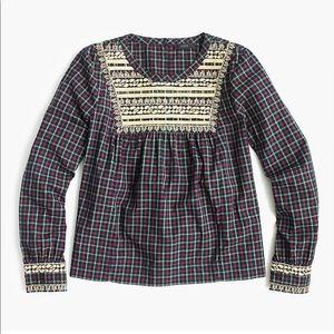 J. Crew Plaid Peasant Blouse Gold Embroidered Top